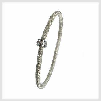 925 Sterling Silver Plated Mesh Chain Stretch Bracelet Crystal Accent Ring