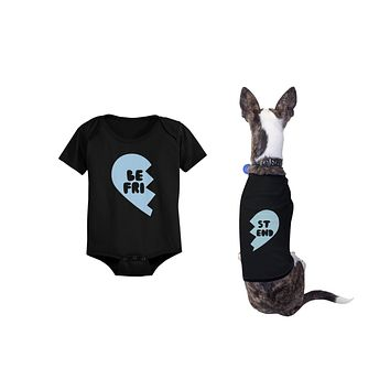 Best Friend Half Heart Matching Baby Onesuits and Dog Shirts Pet and Infant Apparel
