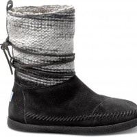 TOMS Shoes Black Wool Stripe Nepal Boots Women's Winter Shoes,