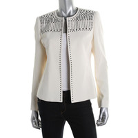 Kasper Womens Summer Oasis Studded Open Front Collarless Blazer