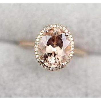 18K Rose Gold 2.5CT Flawless Oval Morganite & .22TCW Pave Diamond Engagement Ring Free shipping