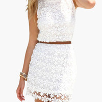 White Sleeveless Top and Mini Skirt Floral Crochet Lace Dress