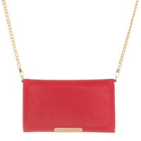 Katie Red Faux Leather Clutch With Gold Chain Strap