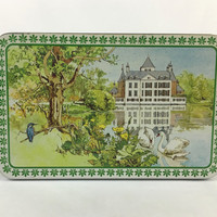Dutch Storage Tin Vintage Verkade Candy Tin Lovely Country Tudor Home on Lake with Swans and Kingfisher Bird Made in Zaandam Holland