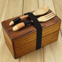 Japanese Traditional Natural Wooden Lunch box Square Double Layer Women's Men's Wood Bento Box