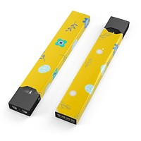 Bright Blue Flowers and Egg Pattern - Premium Decal Protective Skin-Wrap Sticker compatible with the Juul Labs vaping device