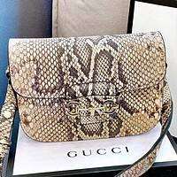 GUCCI New Fashion Snake Texture Print Leather Shoulder Bag Crossbody Bag