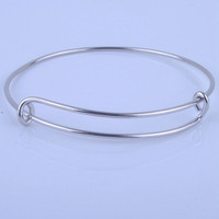 (100pcs/lot)Hot Sale Metals Gold And Silver Plated DIY Bangle For Beads Or Charms Adjustable Expandable Wire Bracelets Bangles