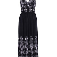 Sleeveless Antique Design Maxi Resort Holiday Summer Dress with Lace Back
