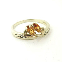 Vintage Citrine Engraved Ring, Gold Plated Sterling Silver Personalized Ring, Size 9