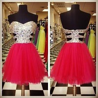 New Beading Stone Homecoming Dress Short Tulle Cocktail Ball Party Prom Dresses