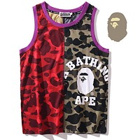Onewel Bape ape camouflage multicolor stitching vest red green camouflage