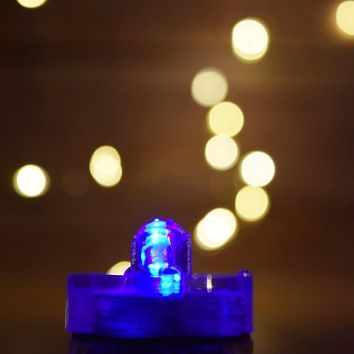 BLOWOUT Blue LED Submersible Waterproof Flower Floral Tea Lights (Twist On/Off) (12 Pack)