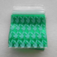 100 Green & White Bunny 1.5 x 1.5 (Small Plastic Baggies) 1515 Tiny Ziplock Bags