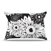 "Laura Escalante ""Midnight Florals"" Black Sunflower Pillow Case"