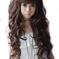MapofBeauty Curly Long Ladies Sexy Women's Wave Full Wigs Party Wig (Dark Brown)
