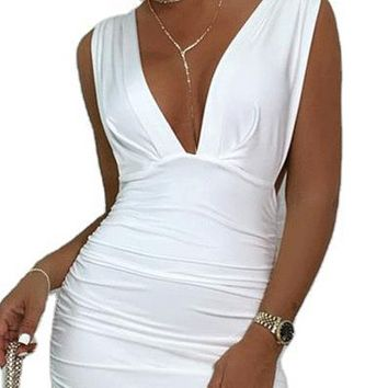 New hot sale sexy deep V-neck low-cut high-waist halter pleated vest dress