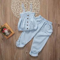 2017 New Toddler Kid Baby Girl Outfit Set Sleeveless Top T-shirt Pants Clothes Sunsuit 2-7T