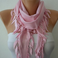 ON SALE - Pink Scarf -  Pashmina Scarf  - Cowl with Lace Edge