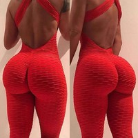 Women Sexy Yoga Set Gym Playsuit Clothes Slim Exercise Sport Top Running Sportswear High-rise Hip Pants Soft Yoga Jumpsuit New
