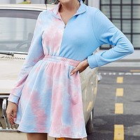 New tie-dye stitching women's printed elastic belt long sleeve A-line dress