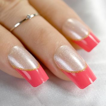 Square Red French Nail Silver Glitter Sparkly Medium Size Fake Nails with Glue Sticker nail false 24pcs