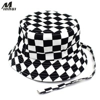 Minhui 2018 New Black White Plaid Bucket Hats for Men Flat Fishing Cap Women Hip Hop Caps Hat