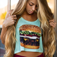 Triple Burger Crop Top
