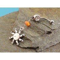 Belly Button Ring Celestial Sun Orange Stone Belly Jewelry
