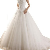 ZYJdress A Line Lace Wedding Dresses Scoop Hollow Back for Bride 2015