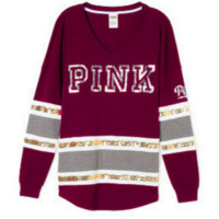 Victoria's Secret Fashion Splicing Long Sleeve Casual Round Neck Print Sweater