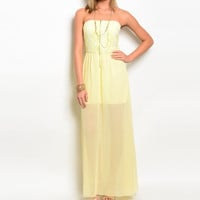 Lace & Chiffon Overlay Maxi Strapless Dress in Yellow
