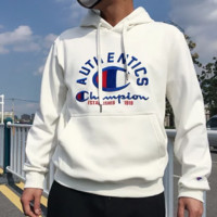 Champion New fashion bust embroidery letter women men thick hooded long sleeve sweater White