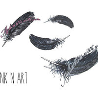 InknArt Temporary Tattoo - 4pcs Feather set wrist tattoo body sticker fake tattoo quote