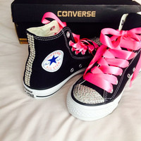 High Top Rhinestone Converse with Ribbon Shoelaces