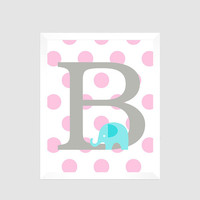 Gray First Initial on Pink Dots with Elephant, Baby Nursery Art CUSTOMIZE YOUR COLORS 8x10 Prints Nursery Decor Print Art Baby Room Decor