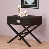 Napa Black 1-drawer Bedside Table