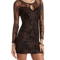 Metallic Lace Bodycon Dress by Charlotte Russe - Black Combo