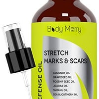 Fractionated Coconut Oil with Rose Hip + Tamanu + Jojoba + Grapeseed + Sea Buckthorn - 6 Pure Oils (no fillers) for Stretch Marks, Scars & Cellulite - Also for Dry Skin on Hands, Cuticle, Feet - 4 oz
