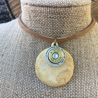 Necklace, Leather, Choker, Hunting, Bone, Nature, Native American, Ethnic, Crystal, Western, Navajo, Bullet, Ammo, Bullet Shell, Woodland