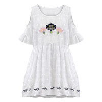 White Floral Pattern Cutout Shoulder Pleated Dress