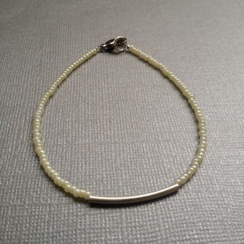 Pearl Yellow and Silver Tube Seed Bead Bracelet