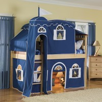 Bolton Furniture Bennington Twin Low Loft Tent Bed with Tent and Built-In Ladder