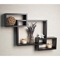 Intersecting Rectangle Shape Wooden Floating Wall Shelf, Black-DanyaB