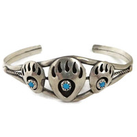 Navajo Bear Paw Cuff, Sterling Silver Turquoise Cuff, Vintage Shadowbox Cuff, Native American Bracelet, FREE SHIPPING