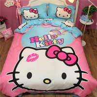 Cool 100% cotton Sweet lovely hello kitty bedding sets twin queen king size cat pink duvet cover bed flat sheet pillowcase bedclothesAT_93_12