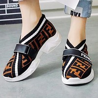 FENDI Popular Women Casual Breathable Knit Running Sport Shoes Sneakers Black&Coffee