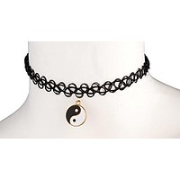 Black Elastic Stretch Choker with Large Goldtone Ying Yang Charm