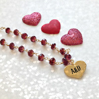 She's a keeper AAA faceted Crimson Garnet and Gold Heart Charm Necklace Valentine gift
