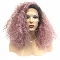 Pink waves | Human Hair Blend| Swiss lace front wig 14"